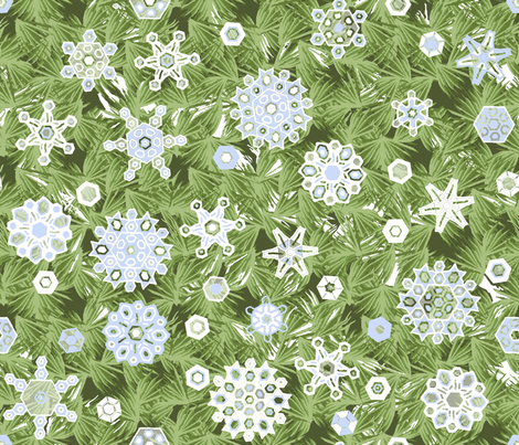 Snowflakes_and_pine_repeat_E_snow fabric by khowardquilts on Spoonflower - custom fabric