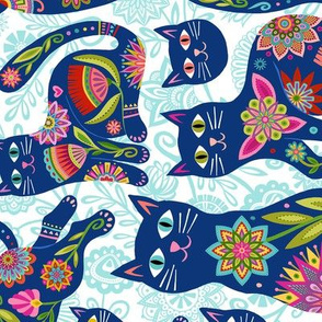 KitCats in Blue for tea towel