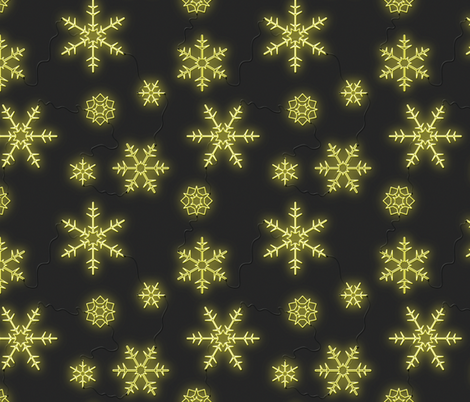'Neon Sign Snowflakes' fabric by tscho on Spoonflower - custom fabric