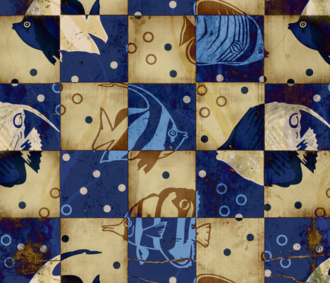 Checkered Blue Fish fabric by peacefuldreams on Spoonflower - custom fabric