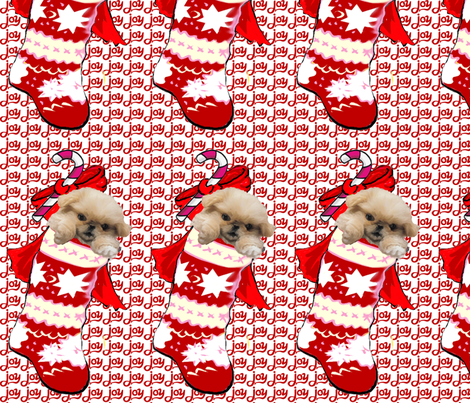 Pekingese Puppy In Christmas Stocking fabric fabric by dogdaze_ on Spoonflower - custom fabric