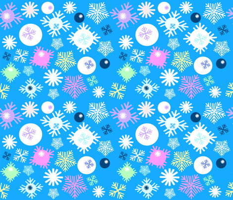 Colorful-snowflakes-pattern fabric by cutiecat on Spoonflower - custom fabric