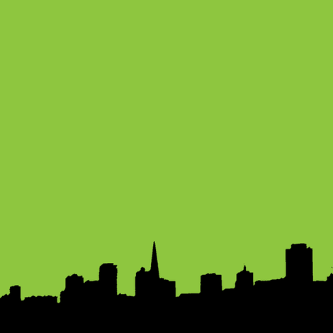 City Scape Lime fabric by zous_co_uk on Spoonflower - custom fabric
