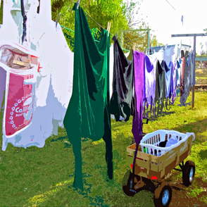 Hanging Out the Clothes (set for a yard)