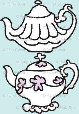Teapots for Teatime Sweets (lt. aqua & lavender)
