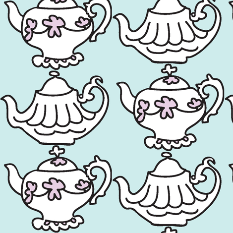 Teapots for Teatime Sweets (lt. aqua & lavender) fabric by pattyryboltdesigns on Spoonflower - custom fabric