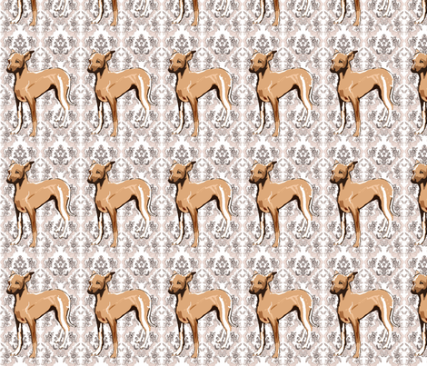 brocaded greyhound puppy fabric fabric by dogdaze_ on Spoonflower - custom fabric