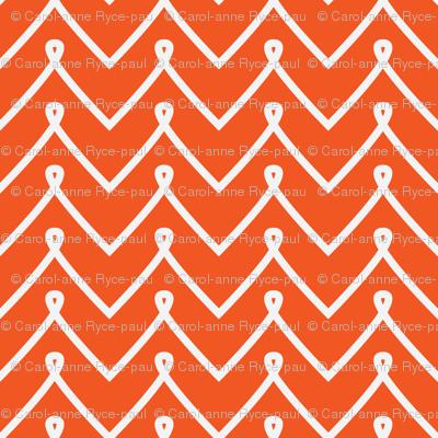 Orange Curly Chevron Pattern