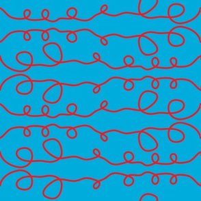Cyan Curly Line Pattern