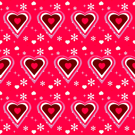 pink and white hearts fabric by dk_designs on Spoonflower - custom fabric