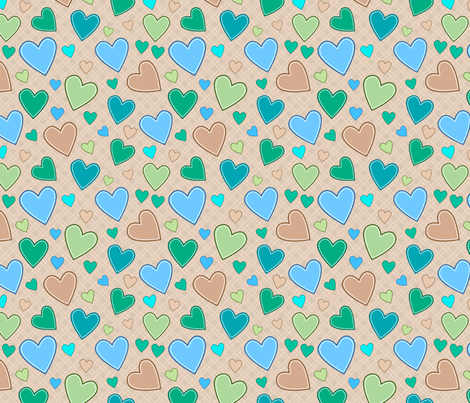 hearts_blue_green fabric by stewsha on Spoonflower - custom fabric