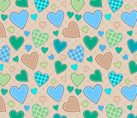 hearts_blue_green_illustration fabric by stewsha on Spoonflower - custom fabric