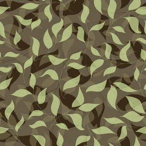 Brown and green leaves