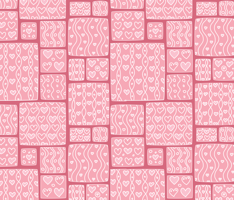 Hearts and squares fabric by stewsha on Spoonflower - custom fabric