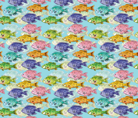 Cute Colourful School Of Fish  fabric by diane555 on Spoonflower - custom fabric