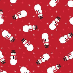 Festive Snowmen (Dark Red)