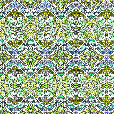 A Patch of Spring Garden (zig zag patchwork blocks of green) fabric by edsel2084 on Spoonflower - custom fabric