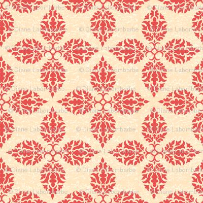 Floral Damask Design Wallpaper