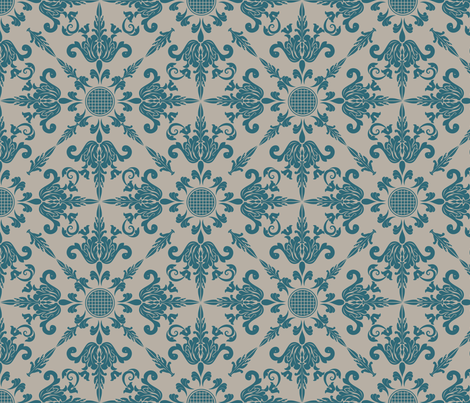 Teal Damask Wallpaper Design fabric by diane555 on Spoonflower - custom fabric