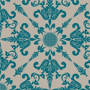 Teal Damask Wallpaper Design