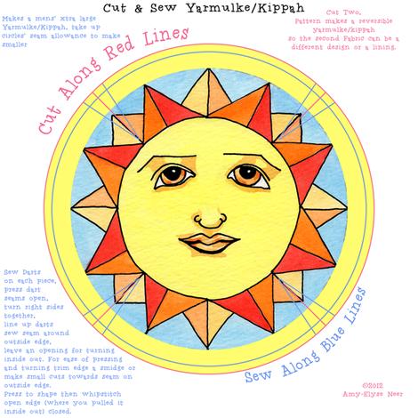 Yarmulke Kippah Solstice Sun fabric by amyelyse on Spoonflower - custom fabric