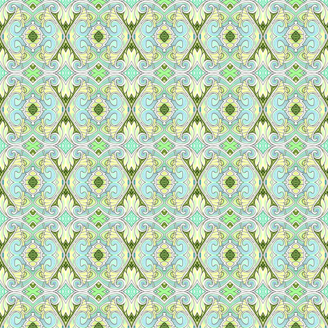 HexaGone But Not Forgotten (in mint and fleur des paisley) fabric by edsel2084 on Spoonflower - custom fabric