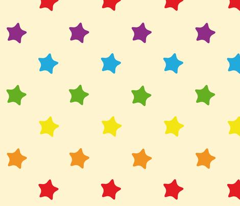 Etoiles fond Rainbow Retro kawaii vintage fabric by nikki_meloddy on Spoonflower - custom fabric