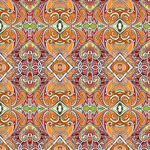 Orange Paisley Tendril and Diamond Vertical Stripe
