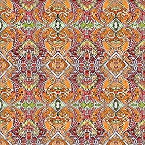 Orange Paisley Tendril and Diamond Vertical Stripe
