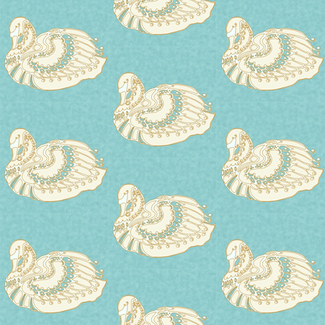 Swan gold fabric by kirpa on Spoonflower - custom fabric