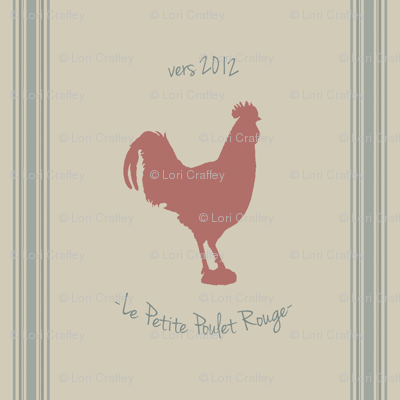 french feed sack rooster pillow