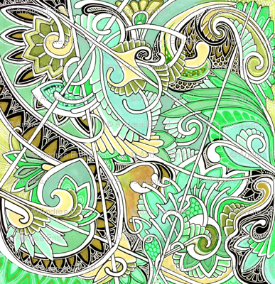 Paisley and Hearts Caught in an Ornate Web of Mint Ice Cream