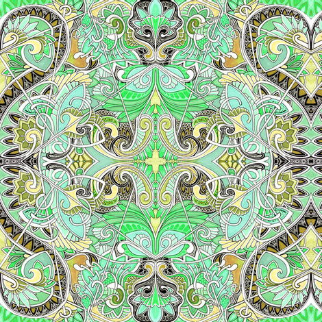 Paisley and Hearts Caught in an Ornate Web of Mint Ice Cream fabric by edsel2084 on Spoonflower - custom fabric