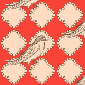 Quatrefoil with Birds variation No. 1