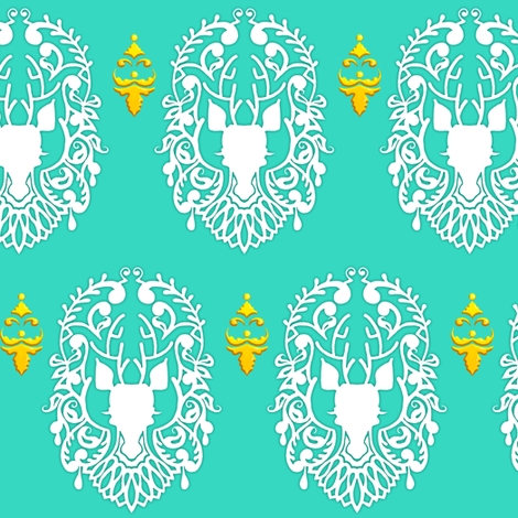 Deer Damask fabric by jadegordon on Spoonflower - custom fabric
