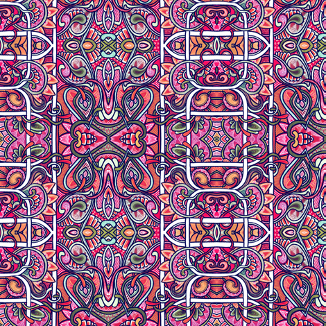 Gardening on a Red Planet (abstract Valentine vertical stripe) fabric by edsel2084 on Spoonflower - custom fabric