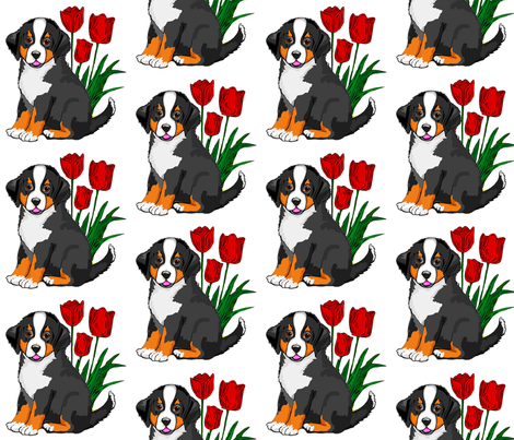 bernese_puppy_with_tulips fabric by dogdaze_ on Spoonflower - custom fabric