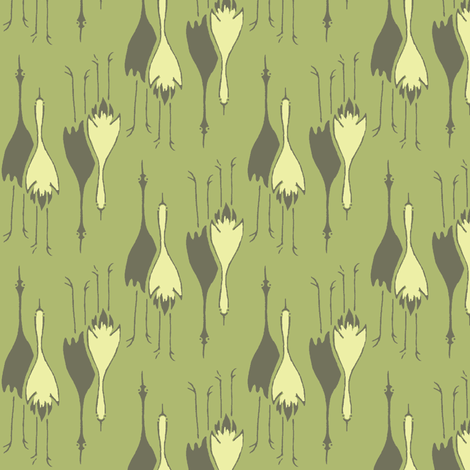 Cranes- green, pale yellow, charcoal fabric by materialsgirl on Spoonflower - custom fabric