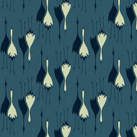 Cranes- dark, med, light blue fabric by materialsgirl on Spoonflower - custom fabric