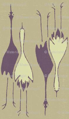 Cranes- purple, putty, off-white