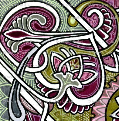 Psychedelic Coloring Book of Hearts and Spades and Paisley