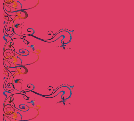Art Nouveau hummingbird pink fabric by jeanne-design-illustration on Spoonflower - custom fabric
