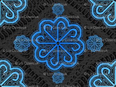 blue pinwheel lace