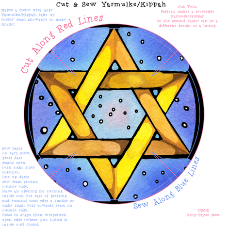 Stained Glass Star Yarmulke Pattern fabric by amyelyse on Spoonflower - custom fabric