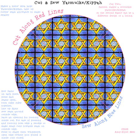 Stained Glass Star Repeat Yarmulke Pattern fabric by amyelyse on Spoonflower - custom fabric