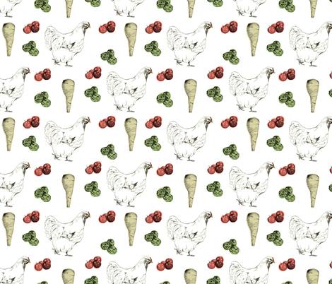 christmas_dinner_pattern_colour fabric by lusykoror on Spoonflower - custom fabric