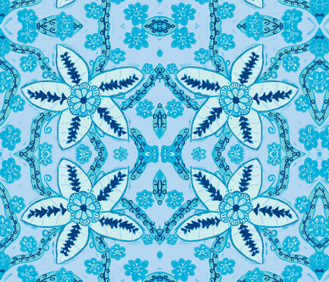 Fantasy light blue fabric by lucied on Spoonflower - custom fabric