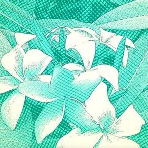 Plumeria teal base, vintage floral Aloha print