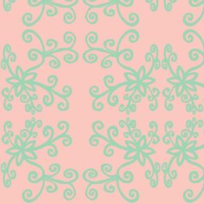 Black twirly flowers pink2