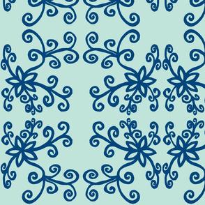 Black twirly flowers blueee